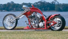 The Suicide Softail chopper's 68-degree rake is particularly steep.