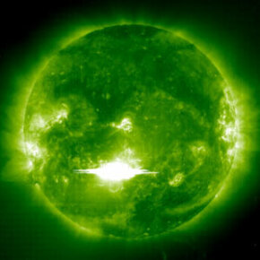 A powerful solar flare erupted from Sunspot 486 on Oct. 28, 2003. The flare sent X-rays traveling at the speed of light toward Earth, causing a radio storm in the ionosphere.