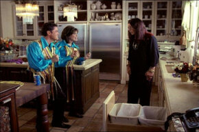 Singer Ozzy Osbourne hangs out with performing duo Donny and Marie Osmond in an image from a Pepsi commercial that aired during the 2003 Super Bowl.