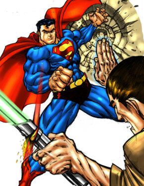 Superman vs. a Jedi. See more  Superhero pictures.