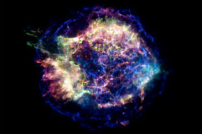 This is Cassiopeia A, a core collapse supernova remnant with a neutron star in its center. Located in the Milky Way only some 11,000 light-years away from Earth, it originally exploded about 330 years ago.