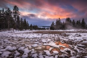 All quiet (for now) during a winter sunset in Yellowstone National Park.
