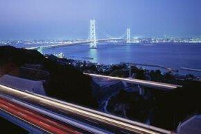 The motorway leading to the Akashi Kaikyo Bridge. The bridge transformed a 45-minute ferry ride into a four-minute car trip.