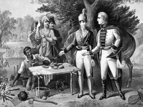 Revolutionary War Image Gallery Francis Marion meeting with a British soldier during the Revolutionary War. See more Revolutionary War pictures.