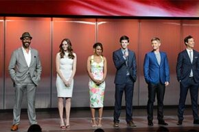 Actors from the CW show 'The Flash' speak at an 'upfront.'  Networks show their programs to advertisers in hopes that they'll buy commercials 'up front' or in advance of the fall season. It's always held at the end of the May sweeps period. See pictures of TV Shows.