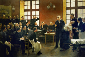 Advances in the understanding of psychosomatic illness began with research into hysteria by physicians like Jean Martin Charcot, depicted here teaching a lesson on the condition.
