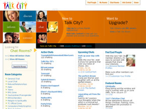 The Talk City home page. See more pictures of popular web sites.