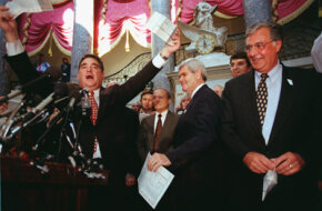 Billy Tauzin, R-La. (left) and House Majority Leader Dick Armey, R-Texas (right) express their feelings toward the tax system during a National Tax Reform Debate Tour in October 2007.