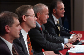 Panelists participate in the Senate Finance Committee on tax shelters on October 21, 2003.
