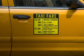 Some areas have other surcharges that are added to your time and distance charges. The cab driver enters those additional fares on the meter.