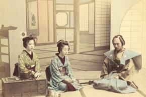Geisha receive a samurai for tea, circa 1880