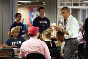 President Barack Obama makes a statement on the improving economy at the start-up tech incubator 1776 in Washington, D.C. in 2014.