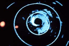Radar display of the Hurricane Fred center.
