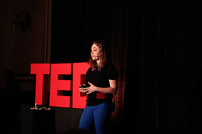 Engineer and founder of LittleBits, Ayah Bdeir, speaks during TED at SXSW at The Driskill Hotel in 2012 in Austin, Texas.