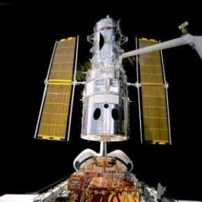 The Hubble Space Telescope during a 2009 servicing mission