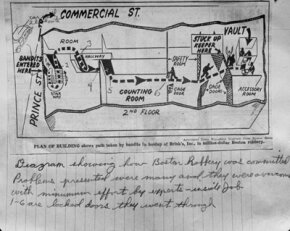 Diagram of how the infamous Brinks job of 1950 went down.