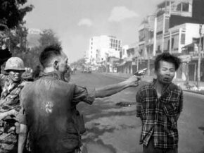 South Vietnamese Gen. Nguyen Ngoc Loan, chief of the national police, executes suspected Viet Cong officer Nguyen Van Lem on Feb. 1, 1968, early in the Tet Offensive. The famous photo remains a defining image of the Vietnam War.