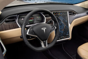 A 17-inch touchscreen provides console controls for the Model S.