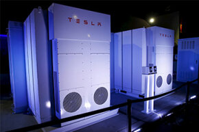 Tesla's batteries for businesses and utility companies (pictured here) provided energy for the big Powerwall unveiling on April 30, 2015. Tesla could find success with commercial customers before residential customers.