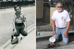Two pictures of Ed Baynes -- after the Nationals competition at Anderson, Ind., in 1956, and after the same event held in the same place 50 years later.