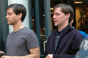 Tobey Maguire and his stand-in Chad Cleven (right) mill around the streets of New York during the filming of 'Spider-Man 3' in 2006.