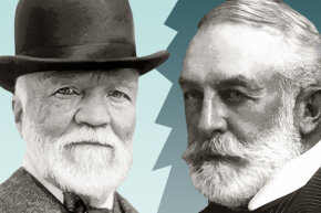 Henry Frick (right) refused to accept Andrew Carnegie's (left) apology, even on Carnegie's deathbed.