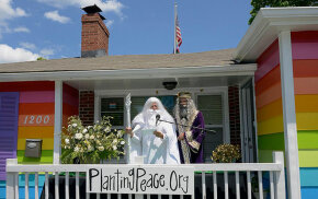 'Gandalf The White' and 'Albus Dumbledore' were married by Davis Hamnet, the director of operations of 'Planting Peace' on the front lawn of Equality House across the street from the Westboro Baptist Church Compound in Topeka, Kansas.