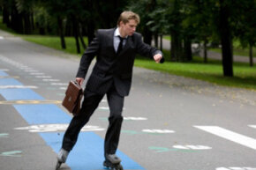 Rollerblading to work -- or during your lunch break -- may be a great way to sneak in some exercise. Just be sure you aren't sweaty and out of breath around co-workers or your boss.