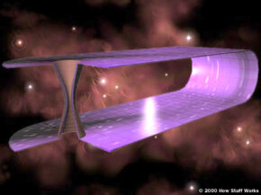 Imagine space as a curved two-dimensional plane. Wormholes like this could form when two masses apply enough force on space-time to create a tunnel connecting distant points.