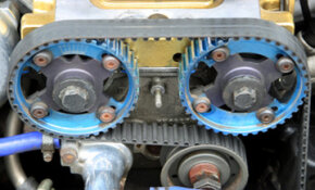 Image Gallery: Engines The timing belt on this engine converts linear energy from the pistons into rotational energy, or torque. See more pictures of car engines.