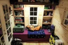 This tiny house uses every inch of space available for storage.
