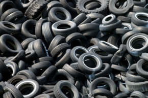 A pile of tires are seen at Kirby Tires outside of Sycamore, Ohio.