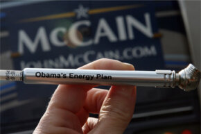 "One of the famous tire pressure gauges distributed by the campaign of Republican presidential candidate John McCain is inscribed ""Obama's Energy Plan."""