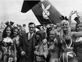 Hugh Hefner is shown here surrounded by Playboy bunnies. Anti-porn feminism in the late 1970s advocated for the banning of pornography.