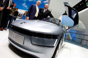 Volkswagen's L1 concept car, shown here at the Frankfurt Auto Show in Frankfurt, Germany, has a carbon fiber-reinforced plastic (CFRP) body.