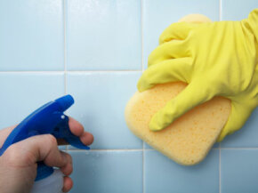 Rubber gloves provide a barrier to germs.