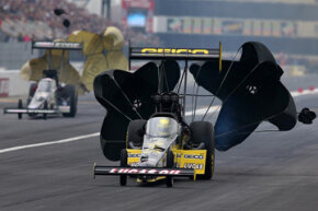 Top Fuel dragsters use two parachutes to slow the car after a blistering high-speed pass.