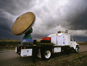 A Doppler on Wheels (DOW) truck searches the Okalahoma skies for tornadic activity. DOW can trace its lineage back to TOTO.
