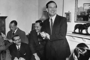 Kim Philby jokes with newsmen at his mother's home during a 1955 press conference after being formally cleared of tipping off Guy Burgess and Donald Maclean that British intelligence was on to them. Philby later resigned from MI6, but agents interrogated him about this again in 1963. As they closed in, he escaped to Russia.