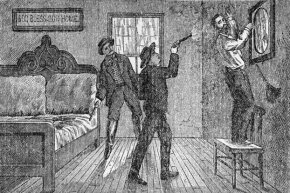 A woodcut shows Robert Ford famously shooting Jesse James in the back while he hangs a picture in his house. Ford's brother Charles looks on.