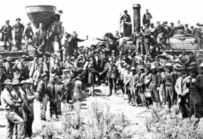 The ceremony for the driving of the golden spike at Promontory Summit, Utah