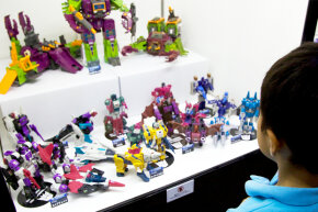 Classic Transformers toys have become museum display pieces, like these at the 2014 Transformers Expo in Japan.