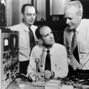 The Bell Labs team of John Bardeen, Walter Brattain and William Shockley won the 1956 Nobel Prize in Physics for their work in developing transistors. See more electronic parts pictures.