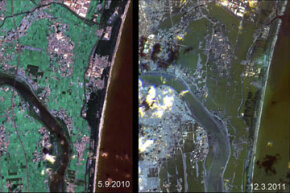 These images show the effects of the tsunami on Japan's coastline. The image on the left was taken on Sept. 5, 2010; the image on the right was taken on March 12, 2011, one day after an earthquake and resulting tsunami struck the island nation.