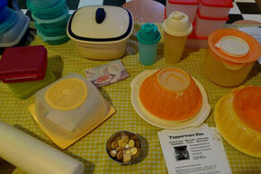 A collection of vintage Tupperware.