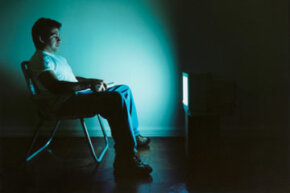 Watching TV in a lawn chair in a dark room may cause eyestrain.