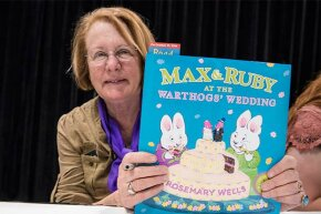 Author Rosemary Wells showed her book 'Max and Ruby at the Warthog's Wedding' at the 2014 BookExpo America. Some 'experts' believe Max and Ruby are living in Bunny Heaven, which is why you never see their parents.