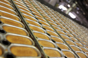 Trays of Twinkie molds at the Interstate Baking facility in Schiller Park, Ill.