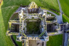 A drone camera took this aerial shot of a castle in Ireland.