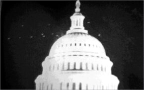 """Photo of what appear to be """"strange lights"""" in the sky near the Capitol building in Washington, D.C. in 1952"""